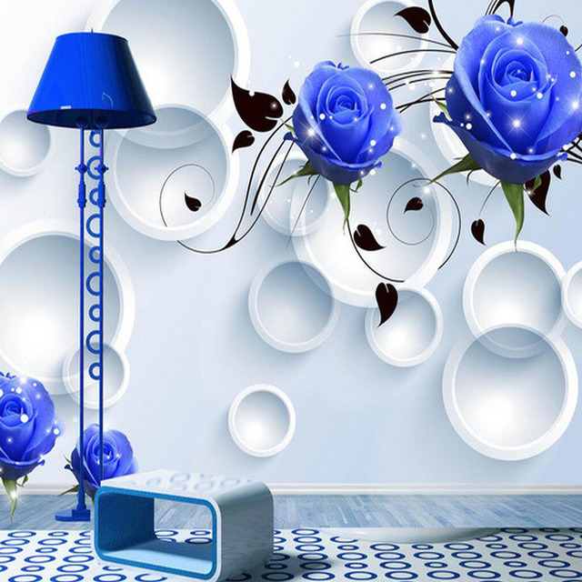 3D Embossed Blue Rose Flower Photo Mural Wallpaper Butterfly Wall Paper Home Decor Print Wallpapers