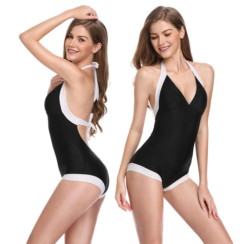 Halter Bikini 2019 One Piece Swimsuit Black Sexy Fitness Bathing Suits for Women Solid Girls Swim Suit Fashion Swimming Wear Uk in Body Suits from Sports Entertainment