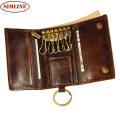 Vintage Multi Function 100% Genuine Crazy Horse Leather Cowhide Men Car Key Wallet Wallets Holder Bag Coin Purse Housekeeper Man