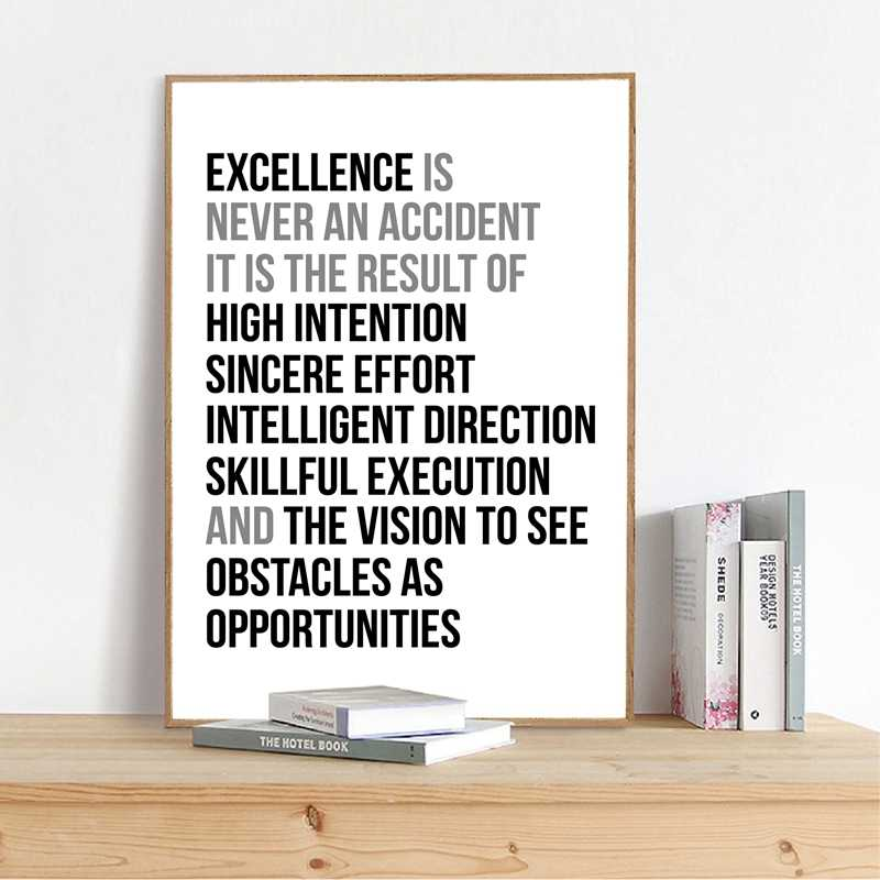 Excellence Is Never An Accident Quote Wall Art Canvas Painting Work Motivation Quotes Poster And Print Wall Picture Office Decor