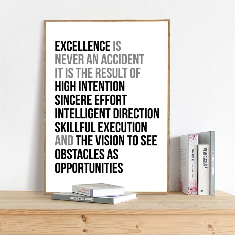 Excellence Is Never An Accident Quote Wall Art Canvas Painting Work Motivation Quotes Poster And Print Wall Picture Office Decor image