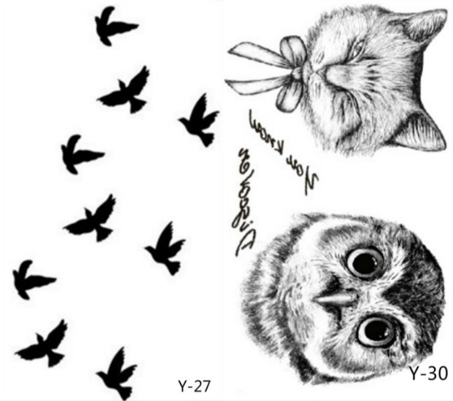2pcs Flash Tattoo Stickers Liberty Small Birds Fly And Paiting Brush