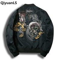 Qiyuanls منفذها سترات التطريز الرجال سترة الوقوف طوق أزياء الرجال معطف أبلى الخريف قنبلة سلاح الجو الطيران الطيران سترات