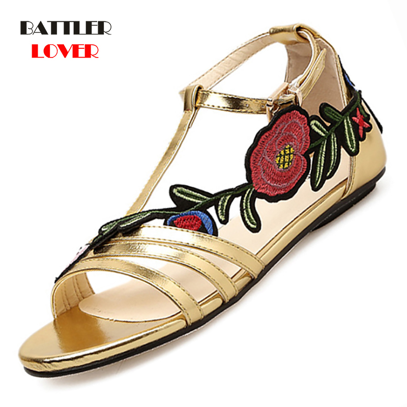 2019 Women Flat Sandals Gold Sexy Sandals Ladies Embroiderry Low Flat Heel Flip Flops Beach Sandals Shoes Female zapatos mujer