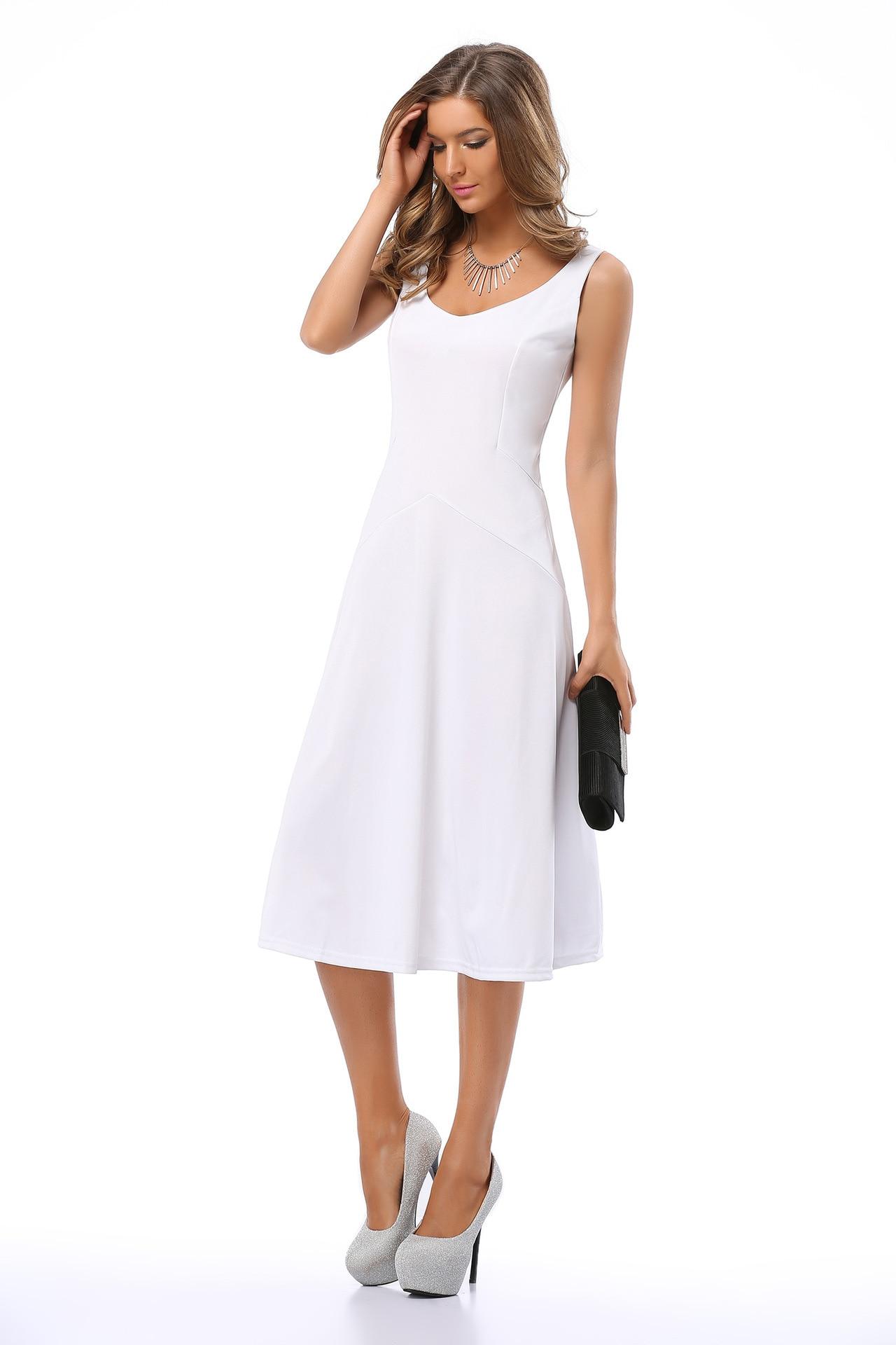 Wankou Casual Women Dress Elegant Simple Solid O Neck