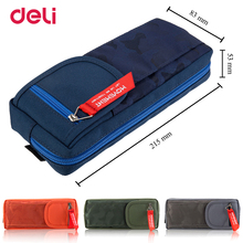 Deli wholesale big space camouflage pencil case fabric pen bag for school kid office stationery organizer supply pouch box gift