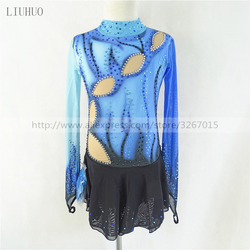 Figure Skating Dress Customized Competition Ice Skating Skirt for Girl Women Blue black High elastic fabric Exquisite diamond