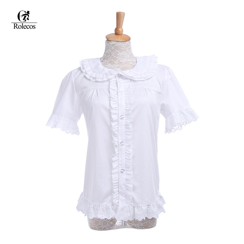 Rolecos Fashion Women Summer Sweet Cotton Lolita Blouses Short Sleeve White Cute Shirt For Girl Ladies Peter Pan Collar Blouse