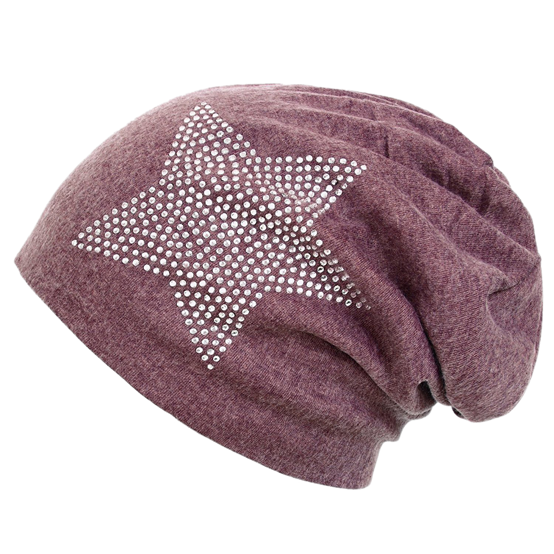 Unisex Men Women Classic Star Rhinestone Slouch Beanie Cap Cotton Hat wine Red One Size