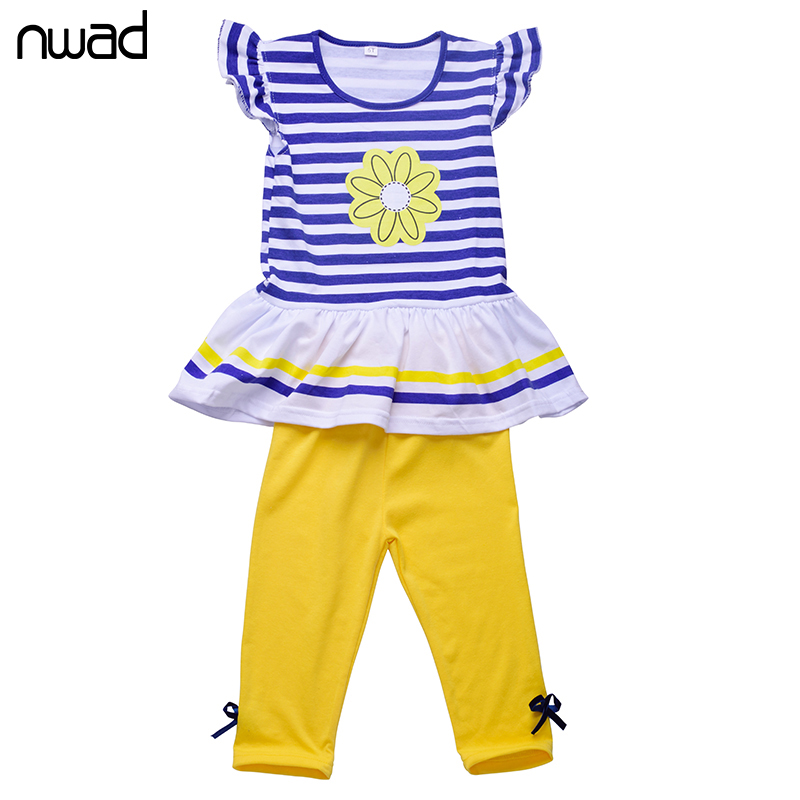 2017 Brand Girls Summer Clothing Sets Girls Fashion Striped Clothes Set Children Floral Printing T-shirt+Shorts 2PCS Suits CF104 fashion summer kids girls clothing set striped shirt coat pant 3pcs cotton children girls suits sportwear orange clothes aa5390