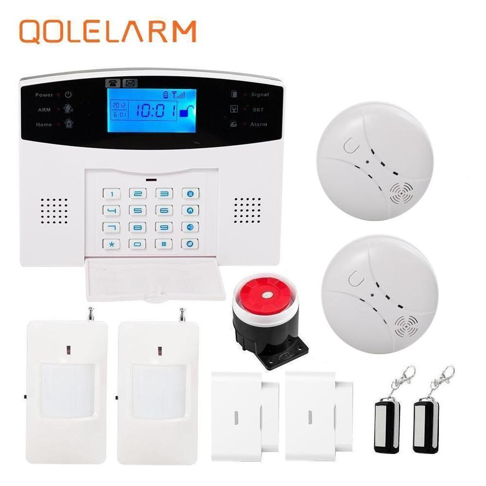433MHz wireless gsm sms alarm systems home security LCD display Spanish/French/Russian language voice prompt +smoke sensor lcd display home dual wire wireless sms gsm alarm systems house intelligent auto burglar door security alarm system remote