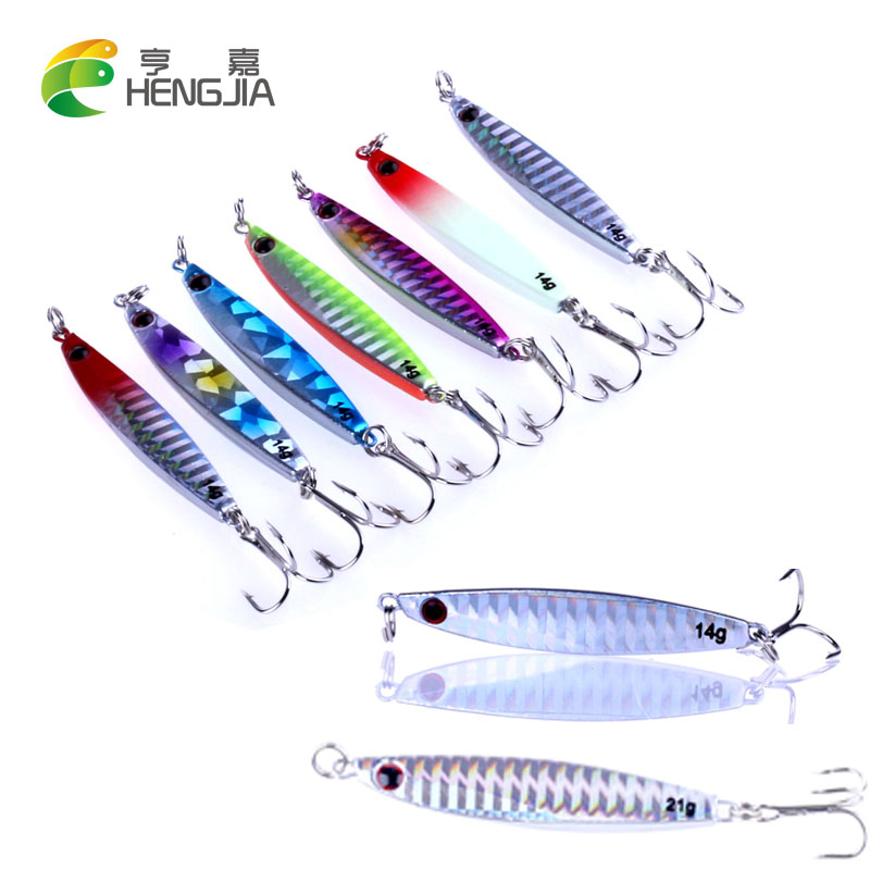 HENGJIA 1pc 14g 20g 21g 30g Iron Plate fishing lure Lead Bait Hard Metal Jig sea Fishing Tackle Artificial Colorful Wobblers 1 set fishing jigging metal lead fishing lure jigs super hard bait 20g 30g 40g 60g artificial blade wobblers fishing tackle