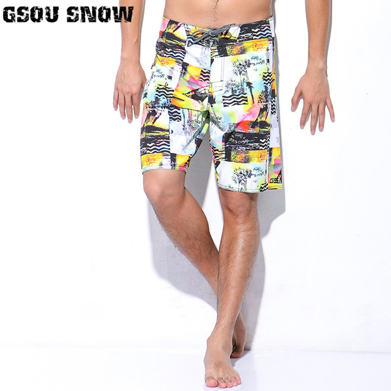 GSOU SNOW Man Beach   Board     Shorts   Quick Dry Swimwear Trunks Print Summer Bermudas Swimming Surfing Diving Motorboat   Shorts