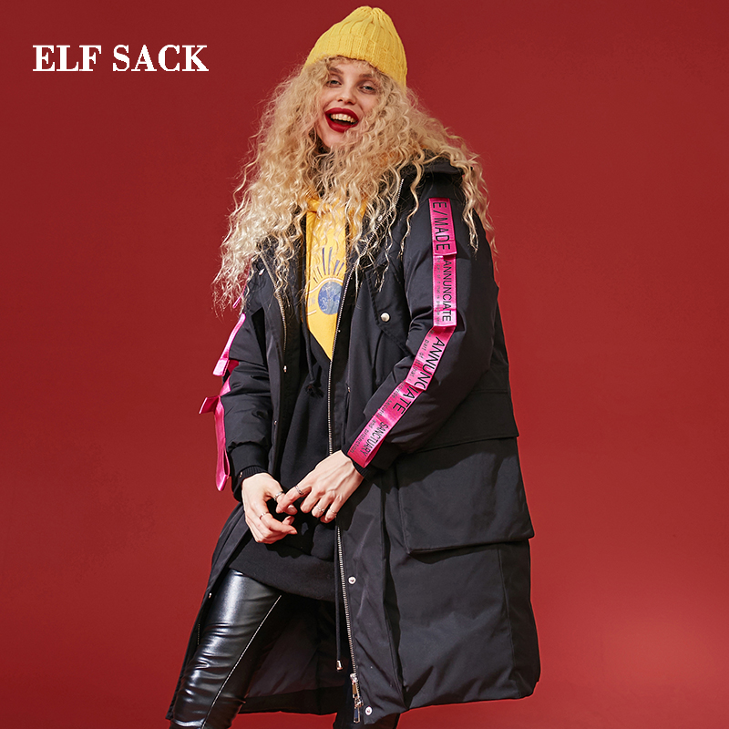 ELF SACK Winter New Down Jackets Woman Zipper 90% White Duck Down Coat Women Thick Full Casual Femme Jackets Female Red Coat
