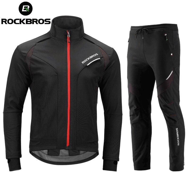 ROCKBROS Long Cyclisme Manches Définit Hiver Polaire Thermique Jersey Coupe-Vent Réfléchissant Veste Vélo Sport Cyclisme Vêtements
