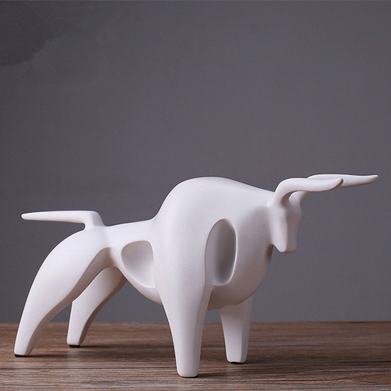 Home Decoration Accessories Nordic Style Modern Abstract Bull Statue Resin Craft Geometric Home Ornaments Bull Sculpture