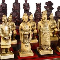 "Collection old bone carving chess  (1736 1781) ""Terracotta Warriors""  Free Shipping