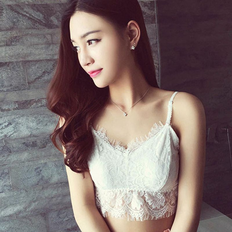 Hot 2020 Women Sexy V-Neck Vest Lace Floral Harness Hollow Out Camisole Bra Blouses Tank Tops Crop Top