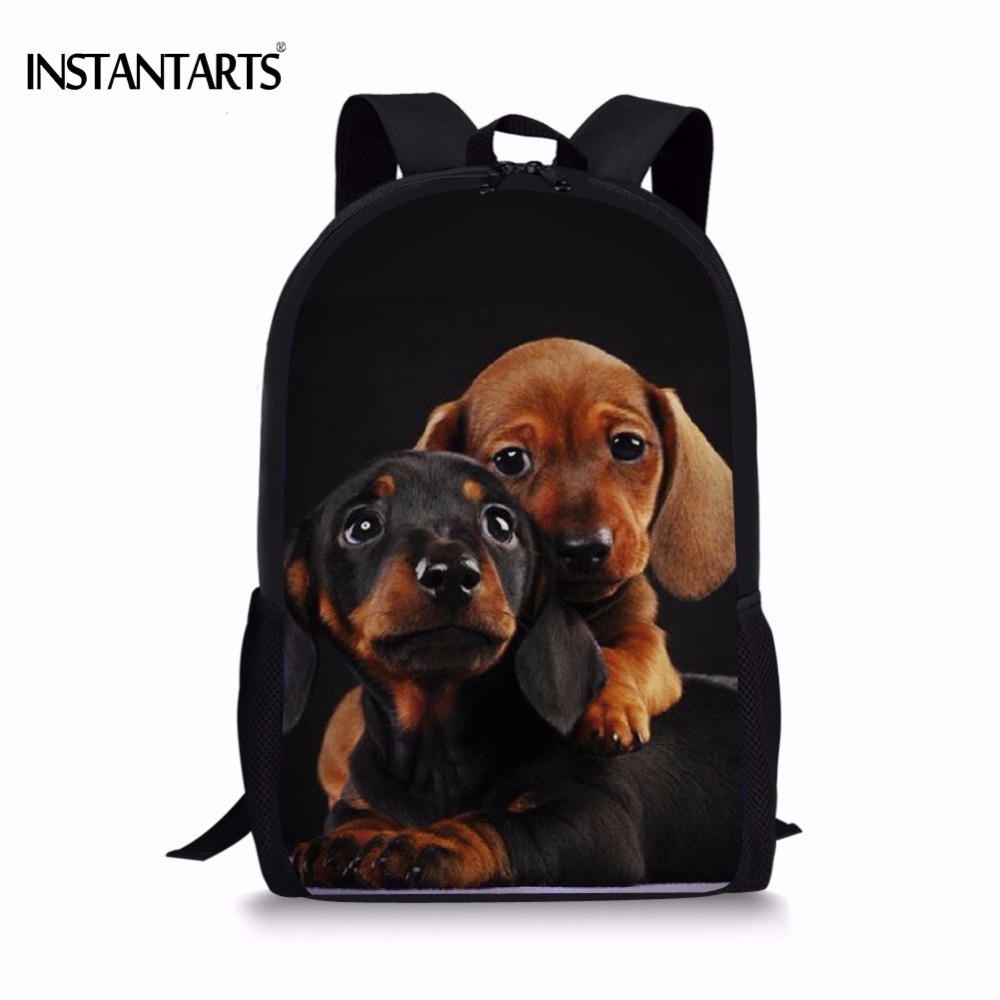 INSTANTARTS Funny Puppy Dachshund Print Kids Backpacks Girls Boys Children School Bags Casual Students Large Lap Top Rucksacks