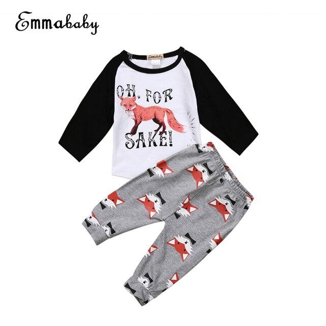 2ac43c414 Baby Fox Print Clothes Set Newborn Baby Boy Girl Long Sleeve T-shirt  Tops+Pants 2017 New Hot Fall Bebes Outfit Kids Clothing Set