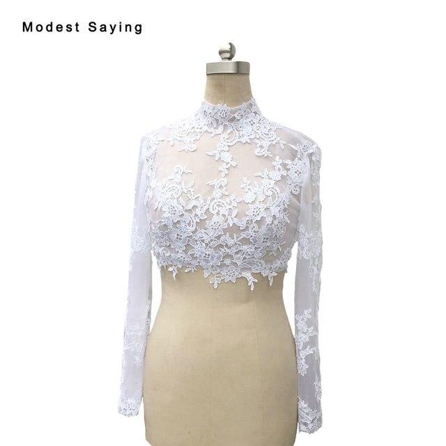 Real White Elegant High Neck Long Sleeve Lace Wedding Boleros 2017 ...