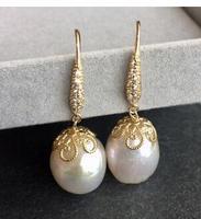 super retro Baroque Pearl 10 11mm natural pearl earrings long 4CM Eternal wedding Women Gift real Import Pearl Earring