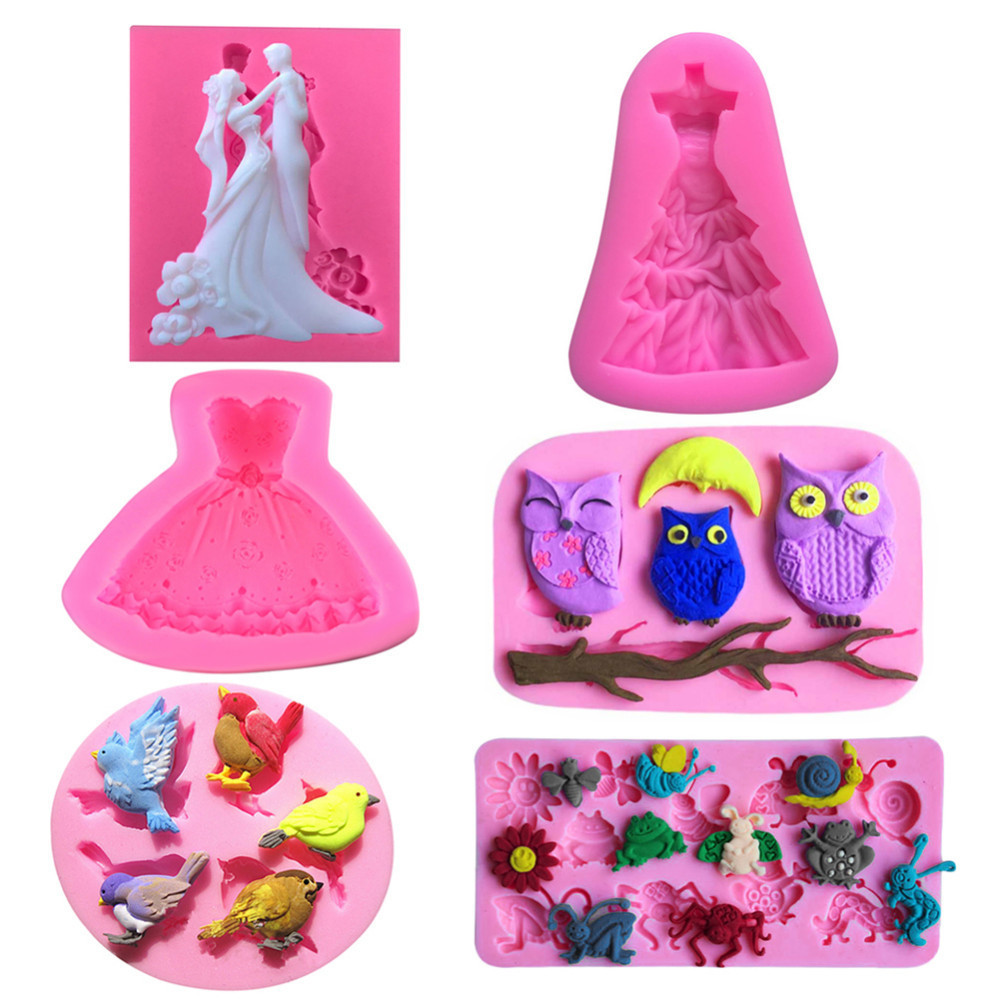 Various DIY Wedding Bride Groom Shaped Mold Silicone Mold ...