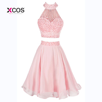 Платье на бретельках с бусинами и жемчугом; платье для выпускного вечера длиной до колена; короткое платье для выпускного бала; Vestidos de Festa