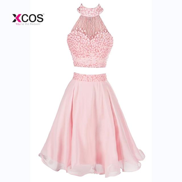 Halter Beading Pearls Two Pieces Homecoming Dresses Knee Length Custom Made Short Prom Gown Graduation Dress Vestidos de Festa