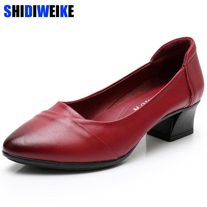 Super Soft & Flexible Pumps Shoes Women OL Pumps Spring Mid Heels Offical Comfortable Shoes Size 35-41 N836