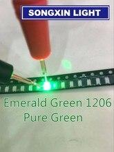 3000 개/몫 슈퍼 밝은 1206 녹색 조명 SMD Led 다이오드 3216 다이오드 순수한 녹색 520 530nm 100 120MCD XIASONGXIN 빛 에메랄드