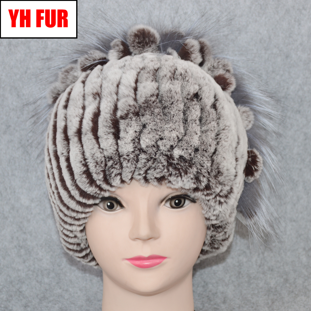 2019 Genuine Rex Rabbit Fur Hat Women Real Rex Rabbit Fur Knit   Skullies     Beanies   Hats Handmade New Casual Real Rex Rabbit Fur Cap