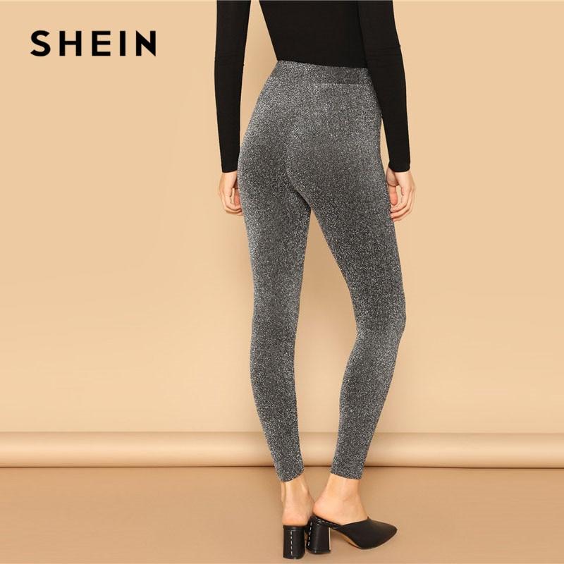 SHEIN Silver Glamorous Elastic Waist Sparkle Maxi Leggings Spring Women Streetwear Casual stretchy Solid Leggings Pants 2