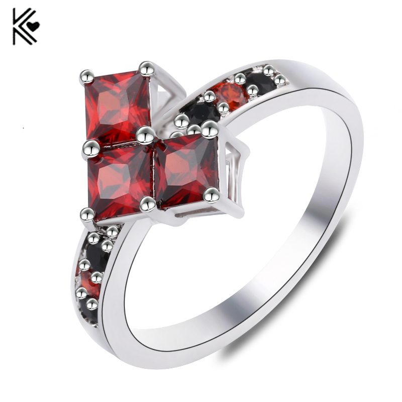 Suicide Squad Copper Ring Harley Quinn Poker Shape Joker CZ Rings Suicide Squads Black Red Crystal Gem Jewelry For Women Wedding