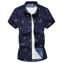 Summer 2019 Men Cotton Print Shirt Dress Shirts Casual Slim Fit Society Short Sleeve Plus Size 7XL Fashion Tops