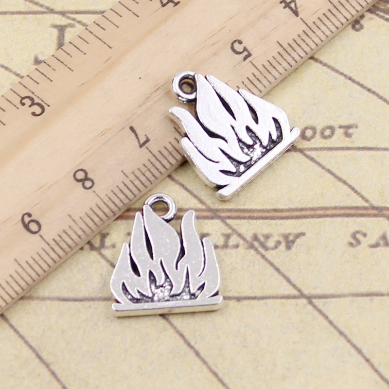 10pcs Charms Flames Fire 15x18mm Tibetan Silver Color Pendants Antique Jewelry Making DIY Handmade Craft