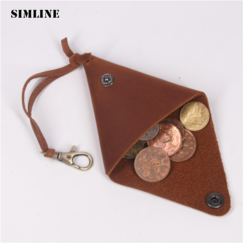 SIMLINE Genuine Leather Coin Purse Pocket Men Woman Vintage Crazy Horse Cowhide Small Mini Storage Bag Holder Keychain Wallet simline vintage genuine crazy horse cow leather men men s long hasp wallet wallets purse zipper coin pocket holder with chain