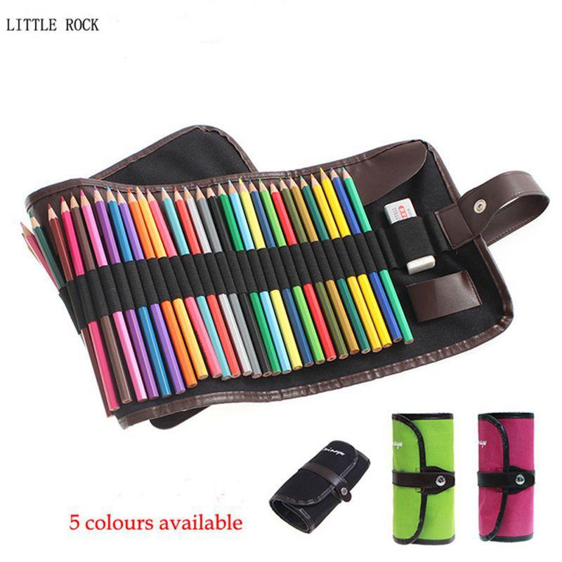 36/48/72 Holes Canvas Roll Pouch Makeup Comestic Brush Pen Storage Pencil Bag School Pencil Case Escolar Art Supplies S18108