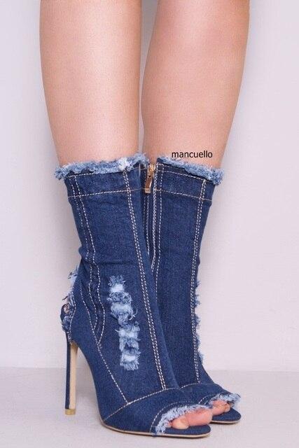 7c44cb5dbf8 Glamorous Blue Denim Stiletto Heels Sandals Classy Women Peep Toe and Slingback  Summer Boots Side Zip Sandal Booties