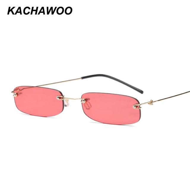 8f31ecc1247 Kachawoo wholesale 6pcs narrow sunglasses for men gold black small rectangle  rimless sun glasses women accessories 2018 hot sale