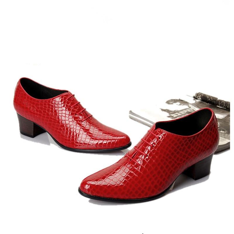 Мужские туфли из лакированной кожи на шнуровке, визуально увеличивающие рост; дизайнерские туфли с острым носком на высоком каблуке; повседневные туфли оксфорды, увеличивающие рост - 6