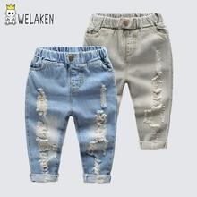 WeLaken/Новинка; модные джинсы наивысшего качества для малышей; Детские рваные ковбойские джинсы; повседневная одежда; детские джинсы