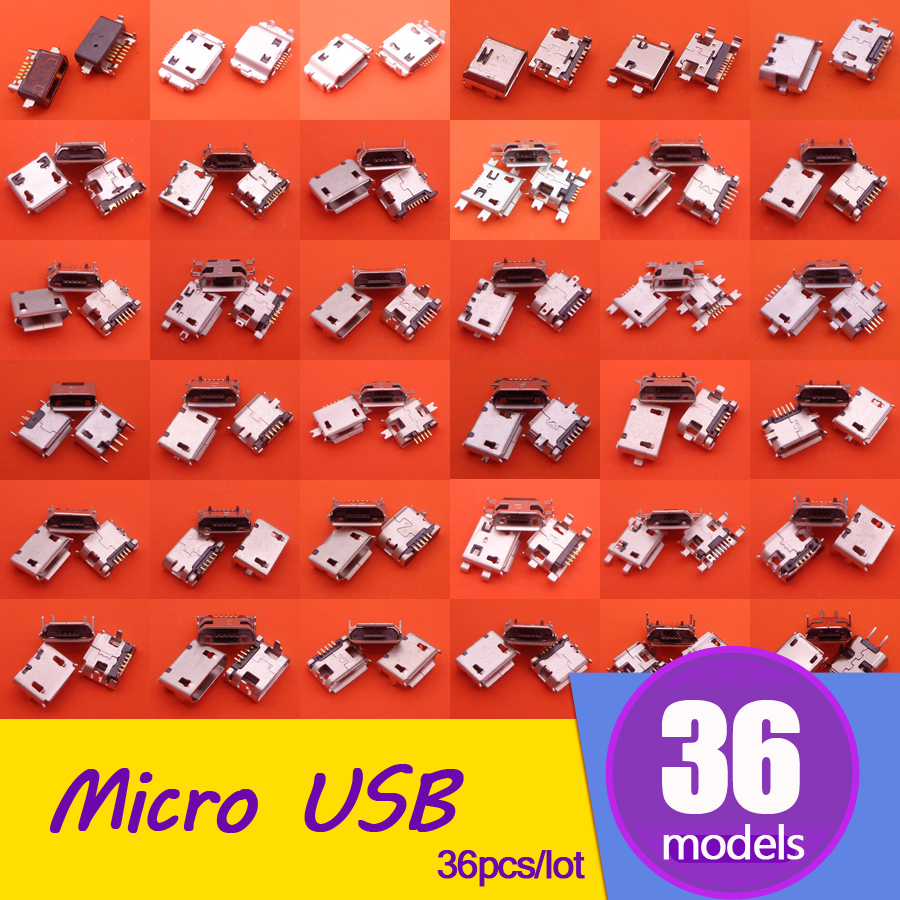 36 Models Tablet PAD Phone Micro USB Connector 5P 7P Charging Port USB Jack Socket For Samsung ASUS Lenovo Sony LG Huawei