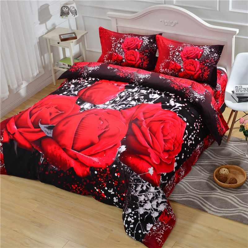 luxury soft redrose bedding set duvet cover set queen size