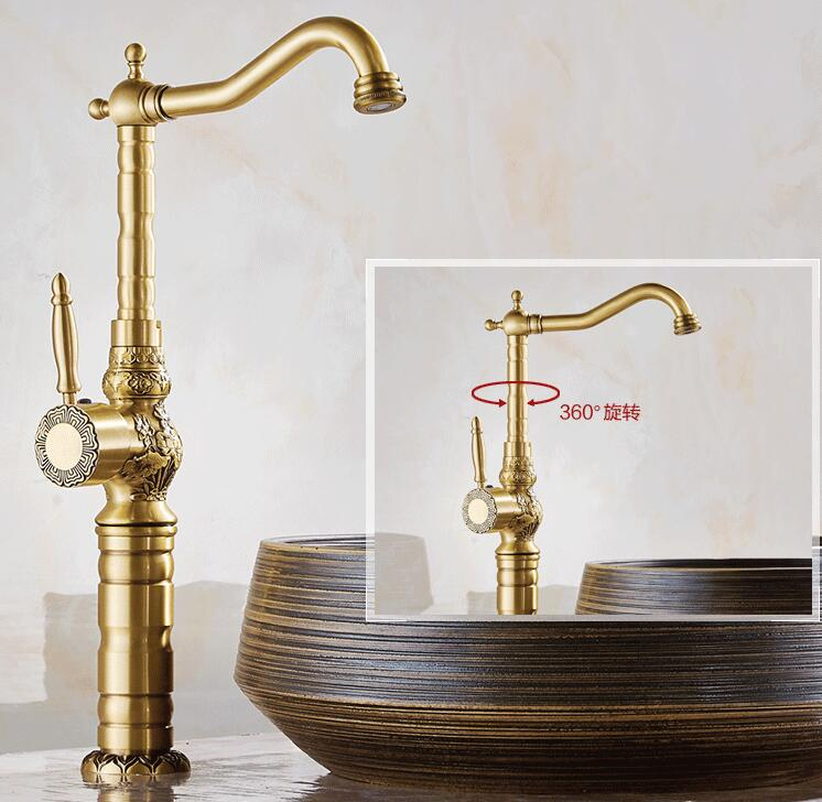 High Quality Luxury antique bronze  water Tap copper carving Deck mounted  Bathroom basin faucet Tall  sink Faucet Mixer Tap copper bathroom shelf basket soap dish copper storage holder silver