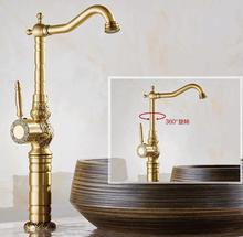 High Quality Luxury antique bronze water Tap copper carving Deck mounted Bathroom basin faucet Tall sink Faucet Mixer Tap