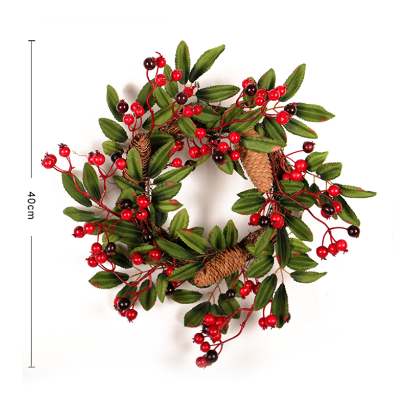 Image 2 - Christmas Wreath Door Decoration Artificial Foam Berry Wreath With Natural Pine Cone Pendant Wall Decor Wreath 40cm-in Wreaths & Garlands from Home & Garden