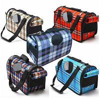 Gingham Plaid Pattern Summer Pet Carrier Portable Bag Travel Dog Puppy Breathable Abat Vent Collapsible Bolsa