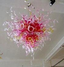 лучшая цена Free Shipping Mini Bedroom Pink Blown Glass Wrought Iron Chandelier