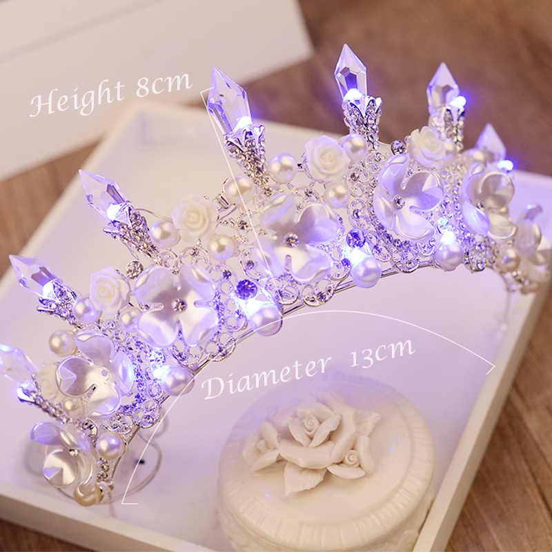 Accesorios para el pelo de la boda de la corona nueva corona hecha a mano con Tiara de cristal Floral